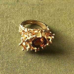 Vintage Gold Over Silver Coral/Smokey Ring